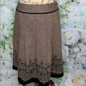 LOFT Herringbone Skirt with Sequins & Velvet Trim